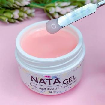 Однофазный УФ гель NATA gel Light Rose (густой), розовый, 15 ml