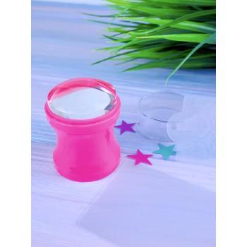 Штамп силиконовый розовый с трафаретом