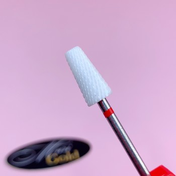 Керамическая фреза конус с тупым концом, красная  (мелкая насечка)