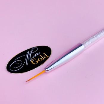 Кисть для рисования 15 мм (ручка с кристаллами, серебро)