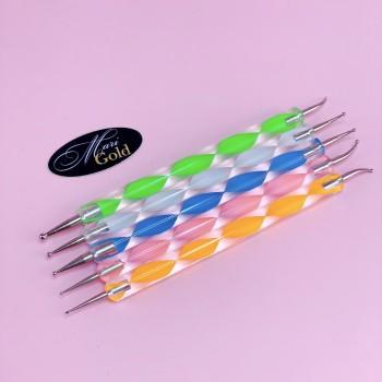 Дотс. Набор 5 шт с пластиковой ручкой (кривой)