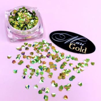 Декор в баночке для ногтей 3D бриллиант (чешуя дракона), золото-зеленый