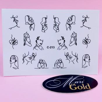 Слайдер-дизайн для ногтей контурный C-213